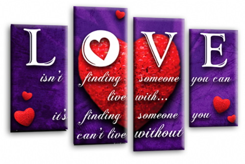 Love Heart Quote Canvas Wall Art Picture Red Purple White Print